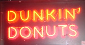 dunkin donuts neon sign