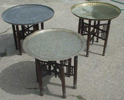 low Indian brass tables