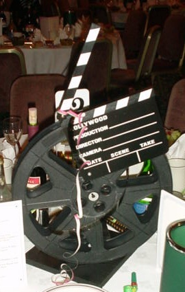film reel and clapperboard table centre