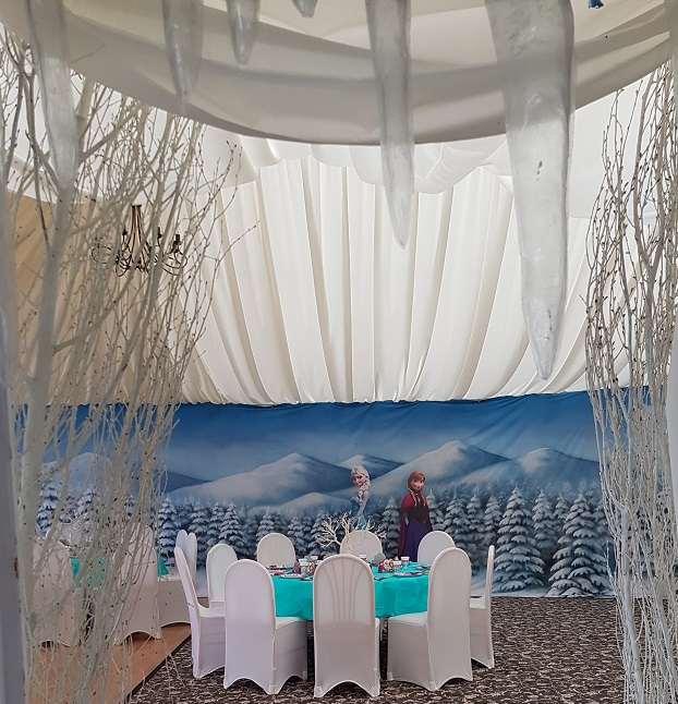 entrance to a frozen themed party