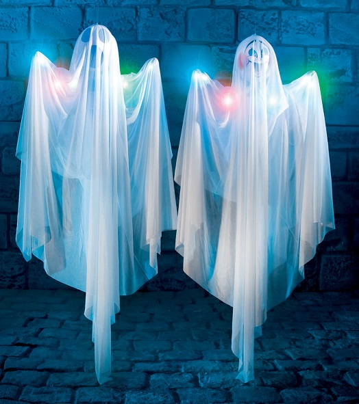 hanging ghosts with lights