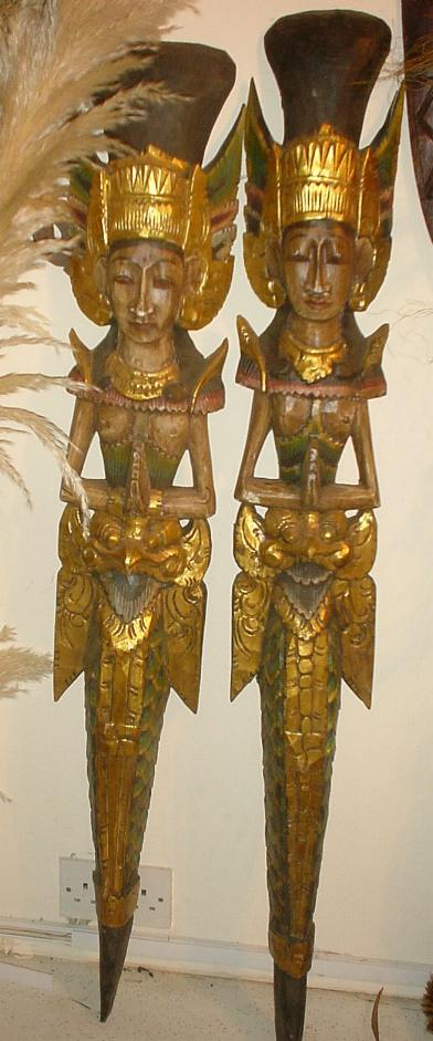 carved gold Asian figures