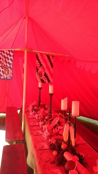 medieval dining tent interior for kids