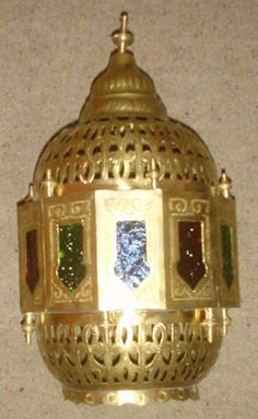 brass glazed arabic lantern