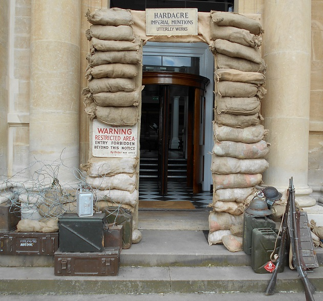 sandbagged entrance