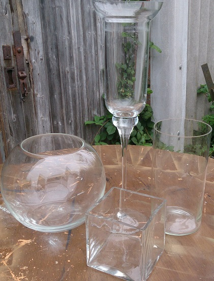 selection of glass vases for hire